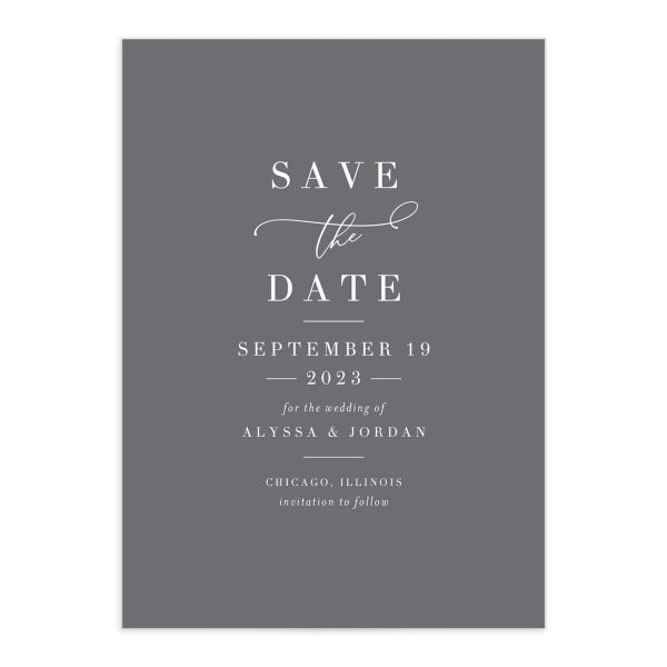 Romantic Calligraphy Save the Date Card grey