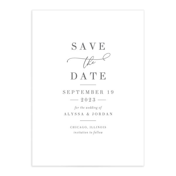 Romantic Calligraphy Save the Date Card mulberry