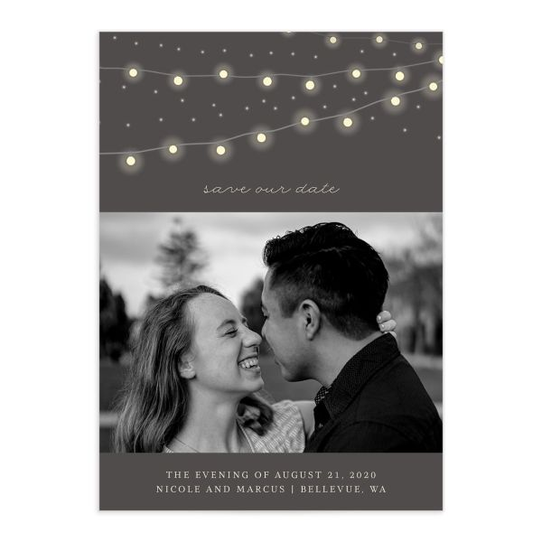 Strung Lights Wedding Save the Date Card front
