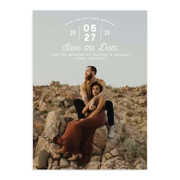Vintage Mountain Save the Date Card front
