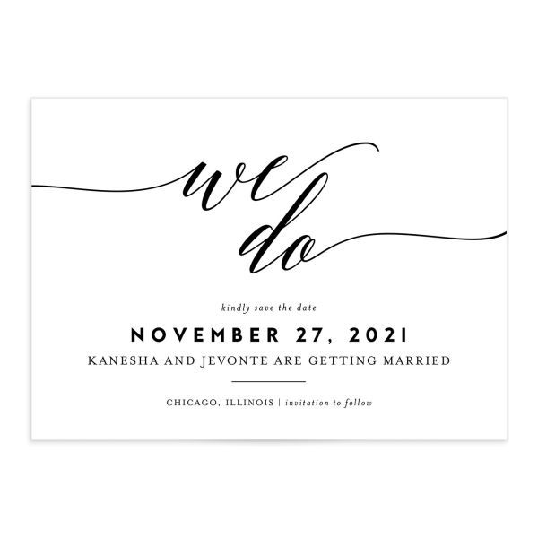 We Do Save the Date Card front black