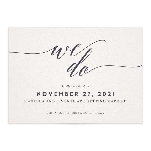 We do Save the Date Card grey