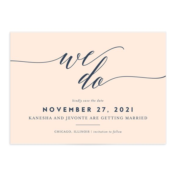 We Do Save the Date Card front pink