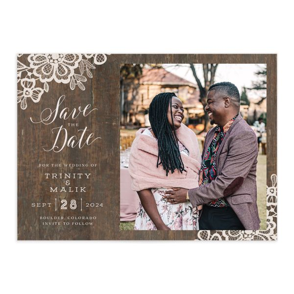 Wood and Lace Save the Date Card front
