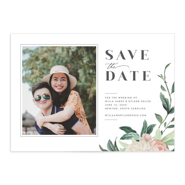 Botanic Save the Date Card front closeup