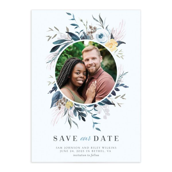 Wild Wreath Save the Date Card front blue