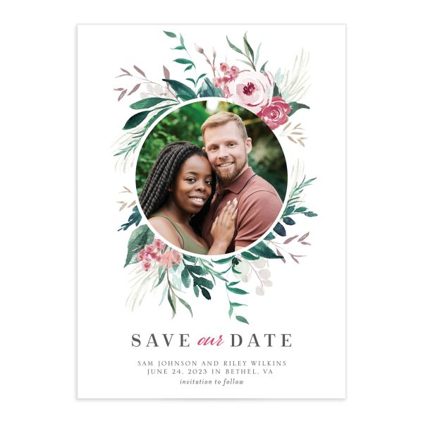 Wild Wreath Save the Date Card front green