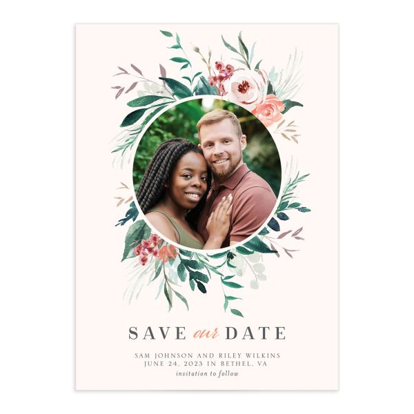 Wild Wreath Save the Date Card front pink