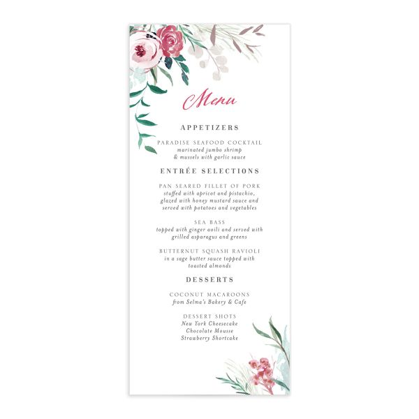 Wild Wreath Menu Card front green