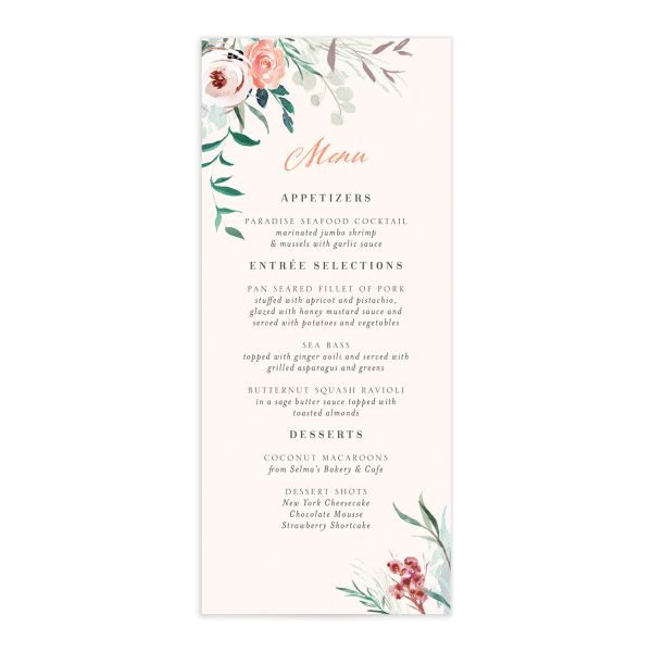 Wild Wreath Menu Card front pink