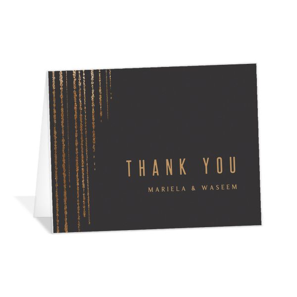 Classic Cascade Thank You Card front in black