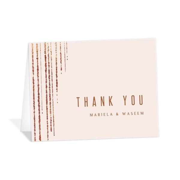 Classic Cascade Thank You Card front in pink