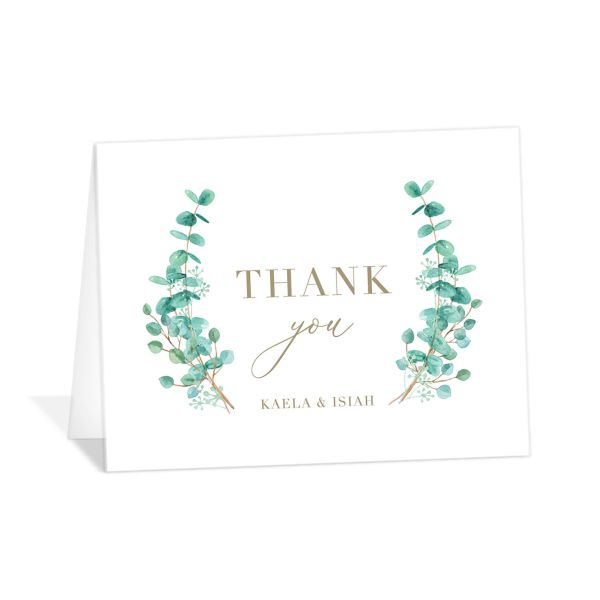 Elegant Eucalyptus Wedding Thank You Card front