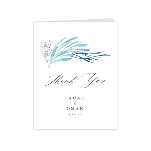 Elegant Beach Thank You Card front in blue