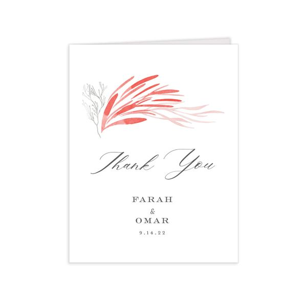 Elegant Beach Thank You Card front in pink