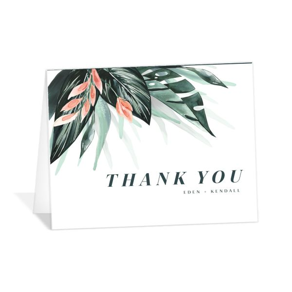 Mod Tropic Thank You Card front in pink
