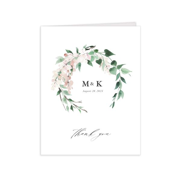 Romantic Wisteria Thank You Card closeup in pink