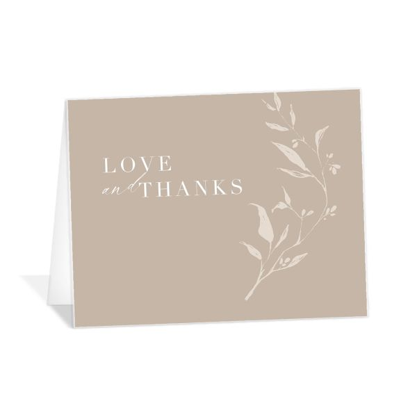 Rustic Minimal Thank You Card front in cream
