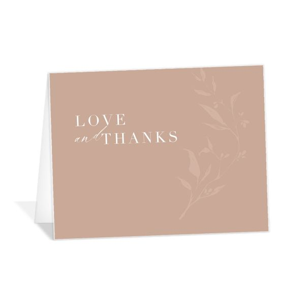 Rustic Minimal Thank You Card front in pink