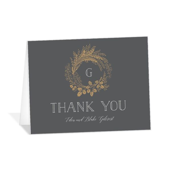 Woodsy Wreath Thank You card front grey