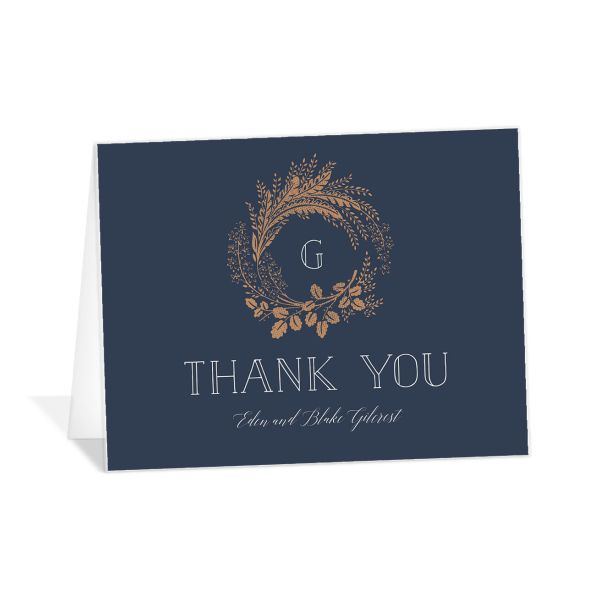 Woodsy Wreath Thank You card front navy