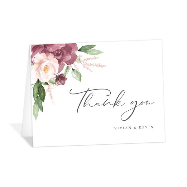 Beloved Floral Thank You Card in pink