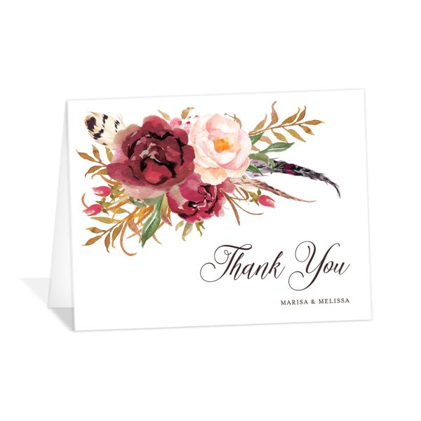 Bohemian Floral Thank You Card front burgundy