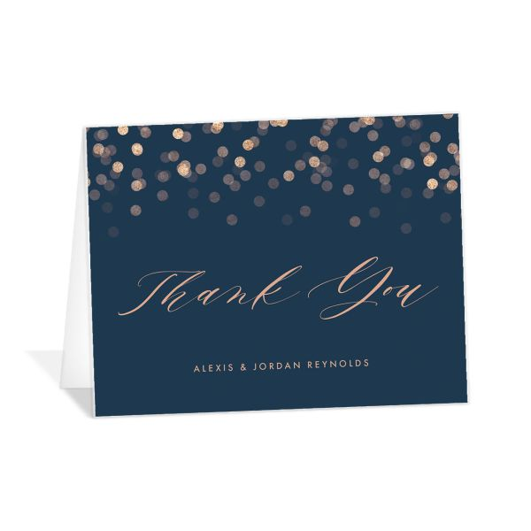 Elegant Glow Thank You Card front in blue
