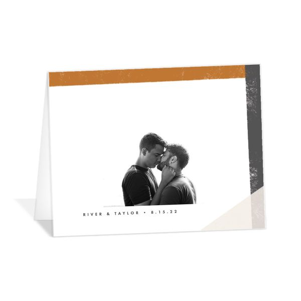 Modern Colorblock Thank You Card front closeup in grey