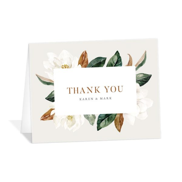 Painted Magnolia Thank You Card front in grey