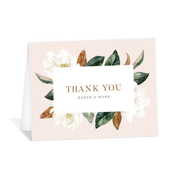 Painted Magnolia Thank You Card front in pink