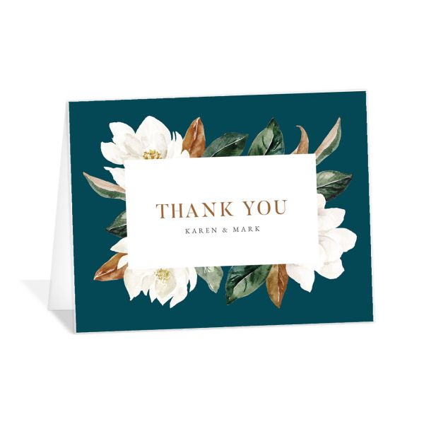 Painted Magnolia Thank You Card front in teal