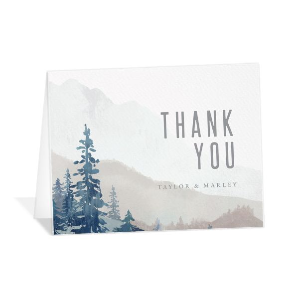 Painted Mountains Wedding Thank You Card front blue