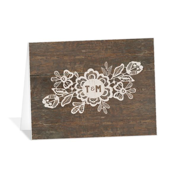 Woodgrain Lace Wedding Thank You Card front
