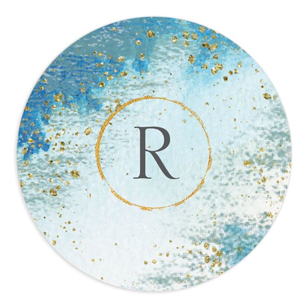 Organic Luxe Round Sticker blue