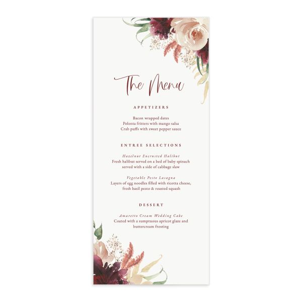 Floral Wreath menu front