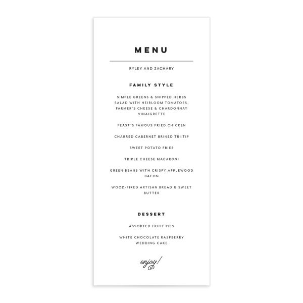 Garden Picnic Menu Card front in black