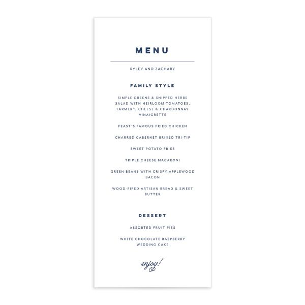 Garden Picnic Menu Card front in blue