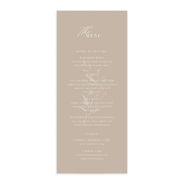 Rustic Minimal Menu front in cream