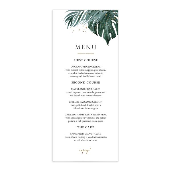 Tropical Monstera menu front