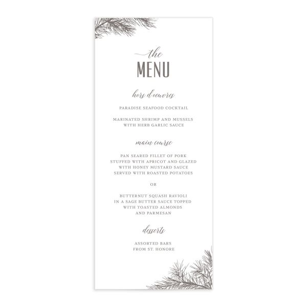 Winter Fir menu front brown