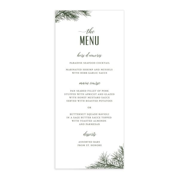 Winter Fir menu front green