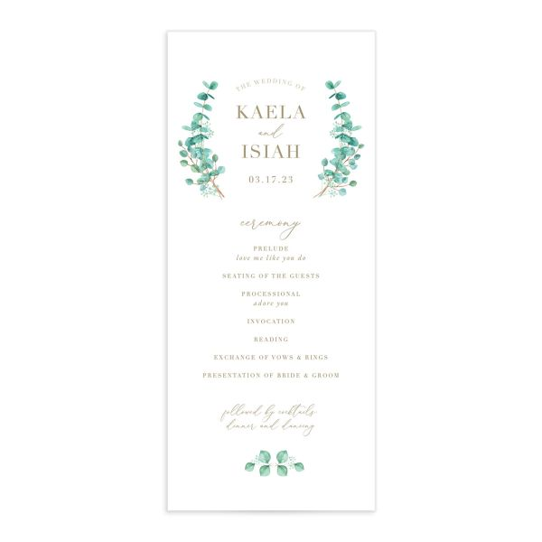 Elegant Eucalyptus Wedding Ceremony Program Card front