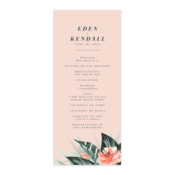 Mod Tropic Wedding Program front in pink