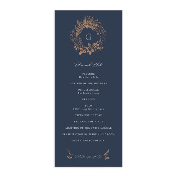 Woodsy Wreath Wedding Program front Navy
