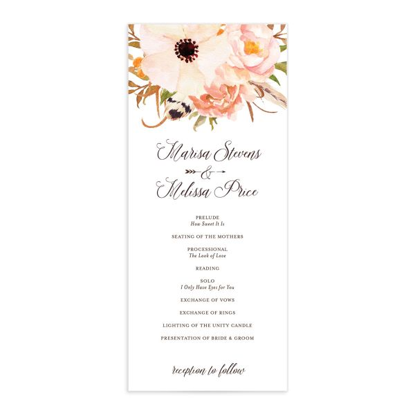Bohemian Floral Wedding Program front peach