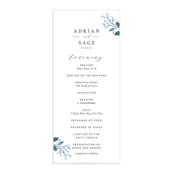 Classic Greenery Wedding Program front in blue