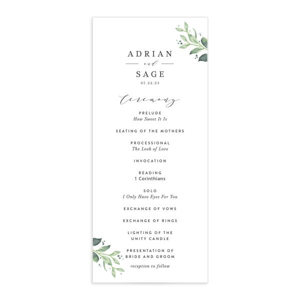 Classic Greenery Wedding Program front in pink