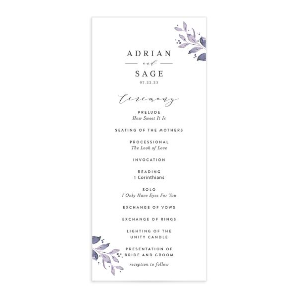 Classic Greenery Wedding Program front in purple