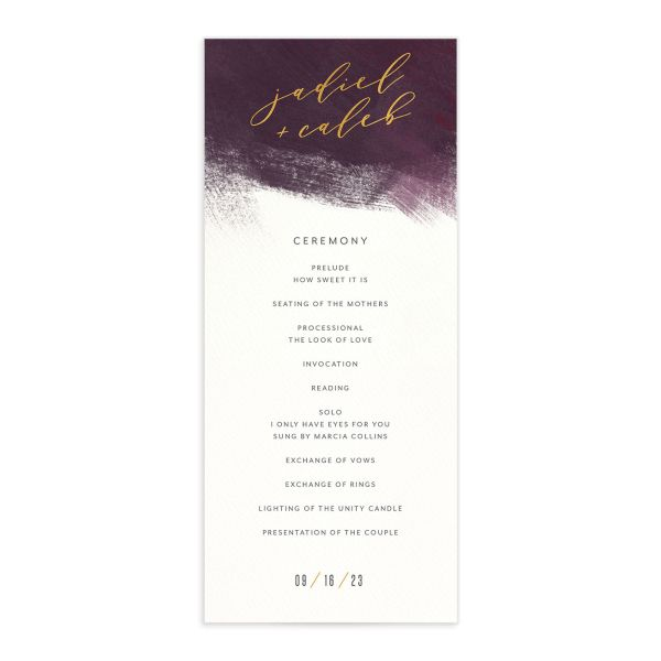 Modern Brushstroke Wedding Program front burgundy